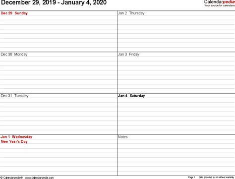 weekly calendars   word   printable templates