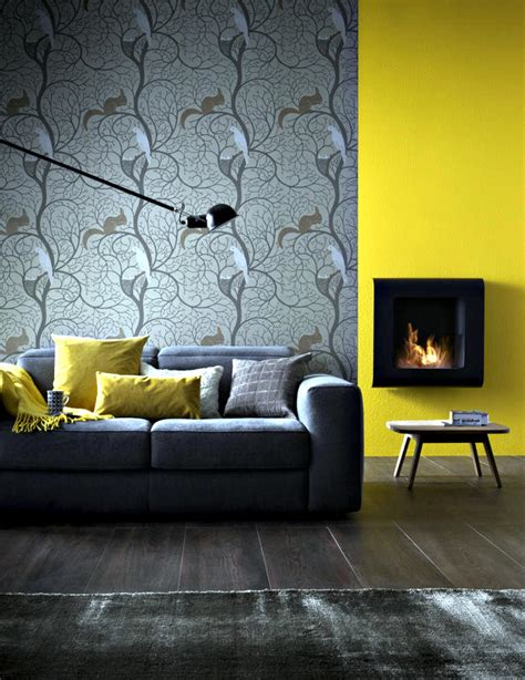 Roomdesigner small fireplace wall before mustard yellow wall interior