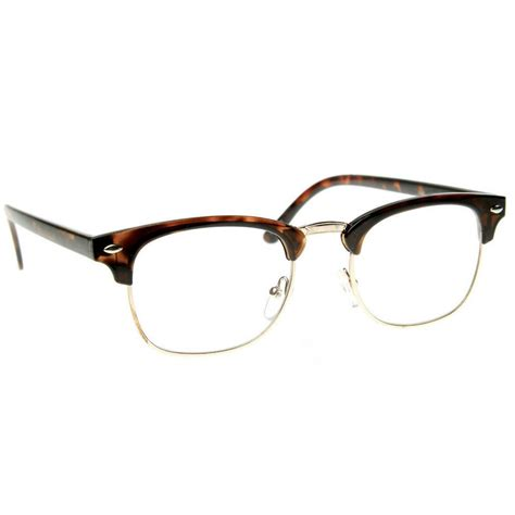 Club Tin Glasses black brown tortoise clubs master half frame metal frame clear glasses ebay