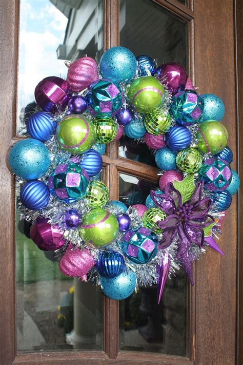 christmas ornament tisel wreath purple blue pink and