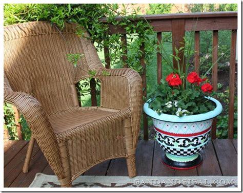 whimsical painted planter sand and sisal