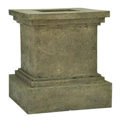 Pedestal Planter by Mpg 16 1 2 In Square Aged Granite Cast Pedestal