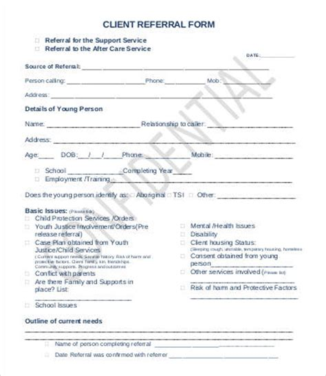 Referral Document Template by Referral Form Template 9 Free Pdf Documents