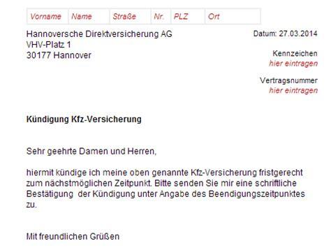 hannoversche kfz versicherung kuendigung vorlage
