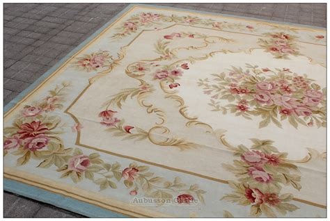 Blue Ivory W Pink Rose Aubusson Area Rug Free Ship Wool Shabby Chic Area Rugs