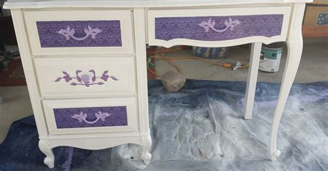 decoupage furniture with scrapbook paper desk makeoverwith spray paint and scrapbook paper hometalk