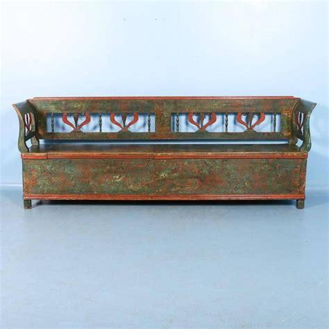 green storage bench antique original painted long green storage bench circa