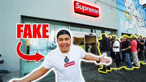supreme clothing store wearing supreme to the supreme store in la hype
