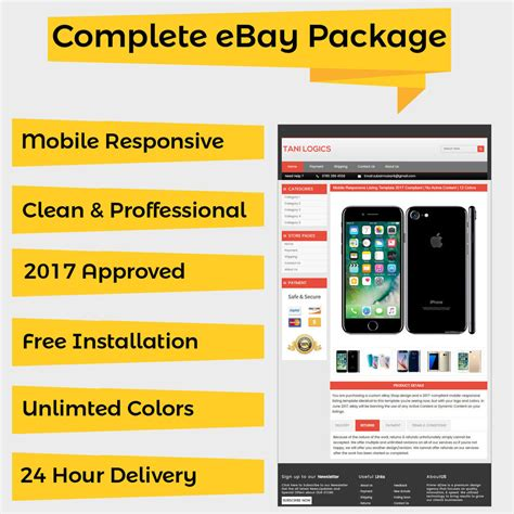 Mobile Responsive Ebay Listing Template Auction 2017 Approved Html Universal Ebay Mobile Responsive Template