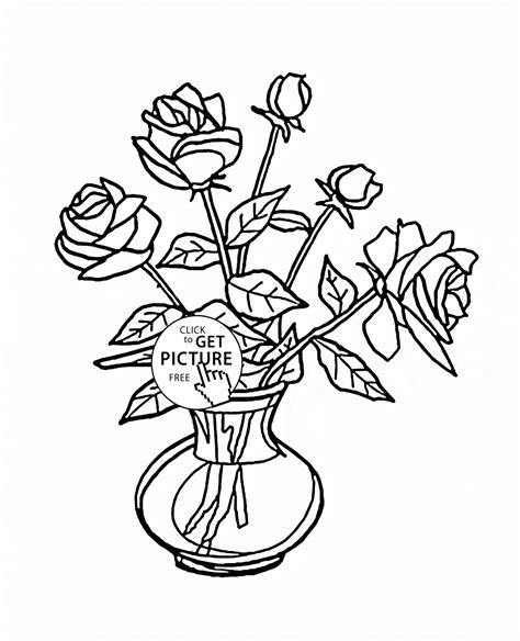 Bouquet Of Roses In Vase Coloring Page For Kids Flower Bouquet Roses Coloring Pages