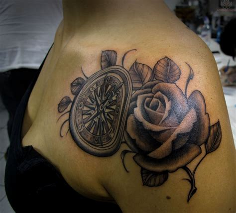 roses shoulder tattoo 30 great compass tattoos for both and