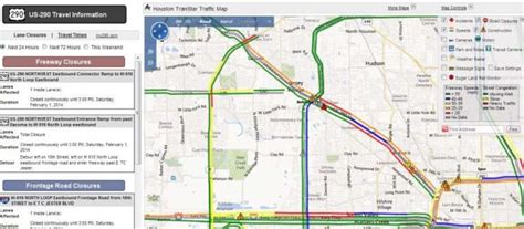 transtar map houston transtar releases real time traffic map of us 290
