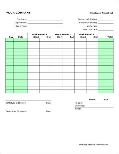 Semi Monthly Time Sheets Free Semi Monthly Timesheet Portrait From Formville