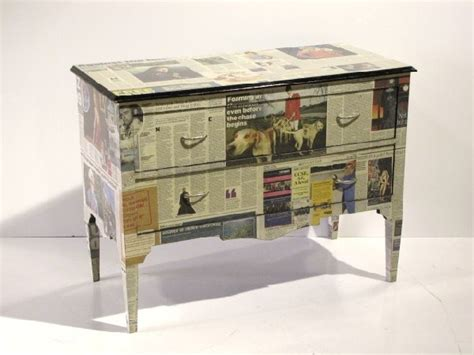 Decoupage With Newspaper - 170 newspaper decoupage chest lot 170