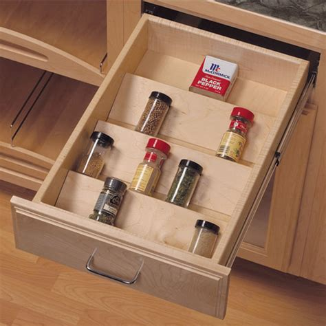 spice drawers kitchen cabinets knape vogt wood spice tray drawer insert kitchensource com