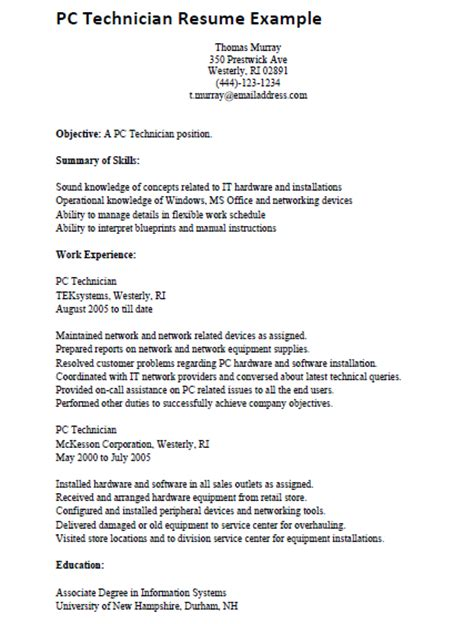 computer technician resume out of darkness