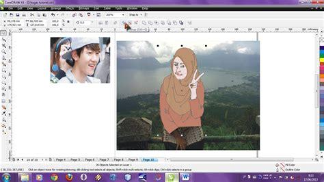 tutorial cara menggambar jilbab kupu kupu design corel tutorial coreldraw x4 merubah foto sendiri menjadi kartun
