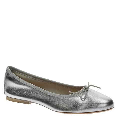 soft flats shoes silver laminated soft leather ballet flats ballerinas