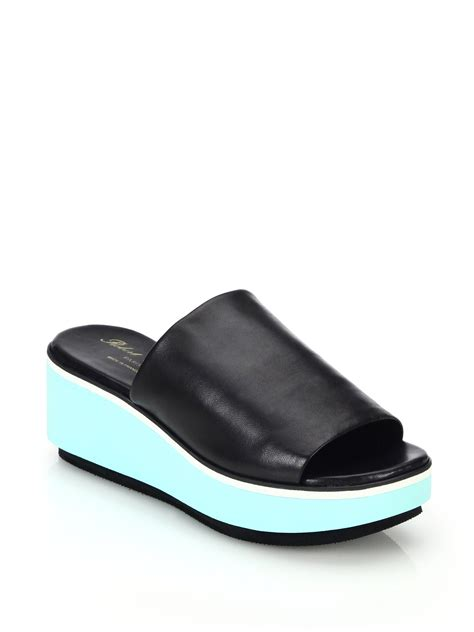 platform mule sandals robert clergerie leather platform wedge mule sandals in
