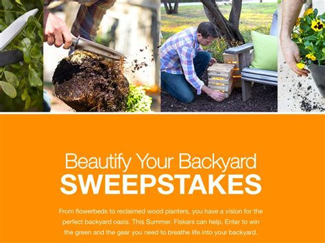 backyard sweepstakes fiskars 2017 beautify your backyard sweepstakes