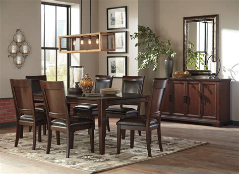 ashley shadyn  piece casual dining room set   warm