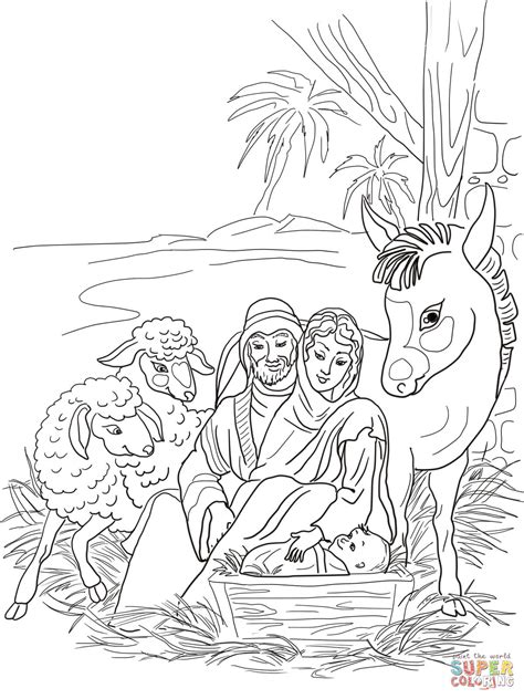 nativity scene animals coloring pages nativity scene with holy family and animals coloring page