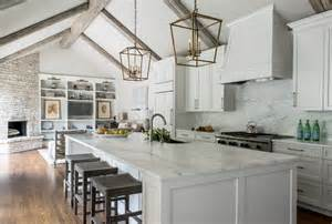 Ideas For Above Kitchen Cabinet Space Remodeled White Kitchen With Vaulted Ceiling Beams Home