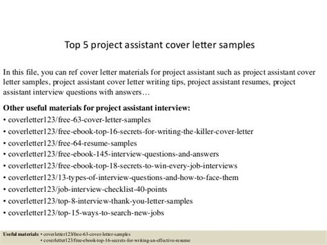 cover letter for project assistant position top 5 project assistant cover letter sles