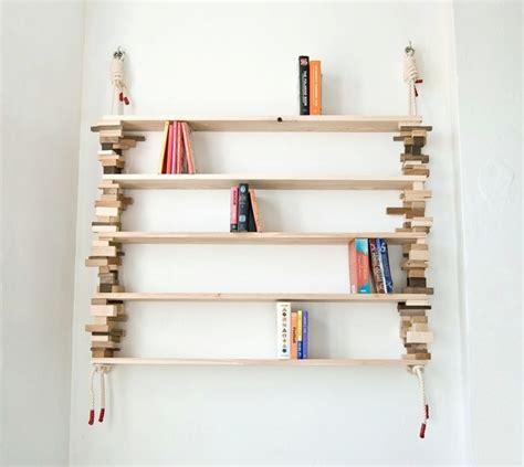 bookshelves made of mixed wood blocks digsdigs