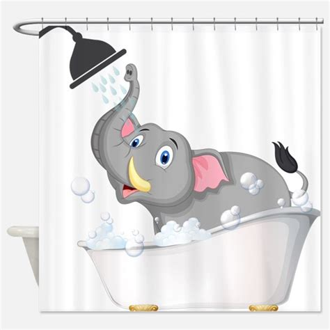 elephant in bathtub kid s shower curtains shower curtains for kids cafepress