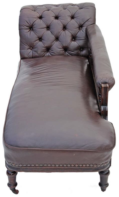 chaise settee victorian leather walnut sofa chaise longue settee