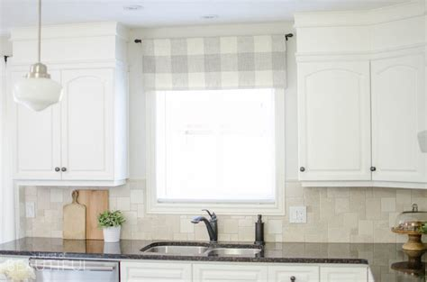 Neutral Upholstery Fabric Farmhouse Kitchen Window Valance Tutorial A Burst Of