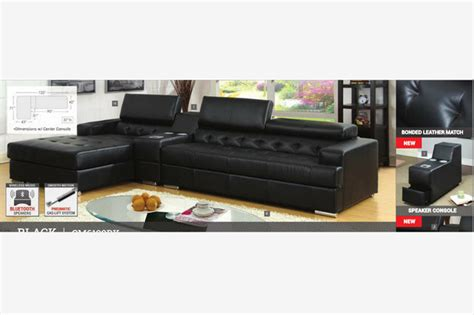 sectional with speakers modern black leather sectional sofa chaise console