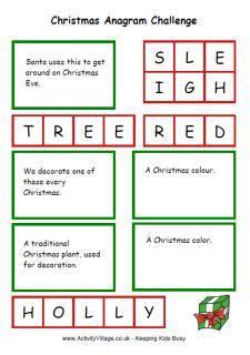 printable christmas anagrams printable christmas games