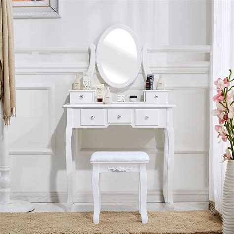 White Vanity Table Set Jewelry Armoire Makeup Desk Bench Drawer by Vanity Set Makeup Dressing Table Jewelry Desk 5 Drawer