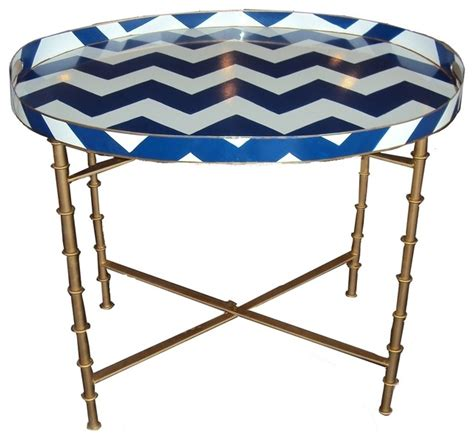 Navy Side Table Navy Bargello Tray Table Contemporary Side Tables And End Tables By Gibson