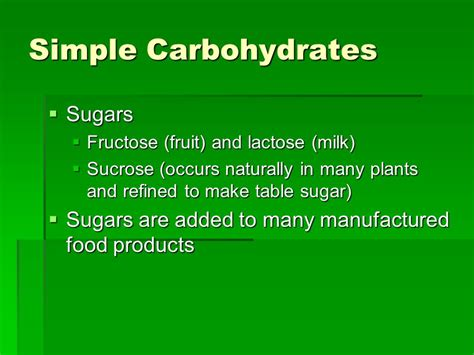 carbohydrates simple sugars nutrition and your health ppt