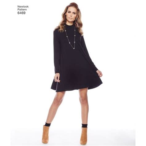 Lower V Shape Knit Dress New Look Pattern 6469 Misses Easy Knit Dress With Length