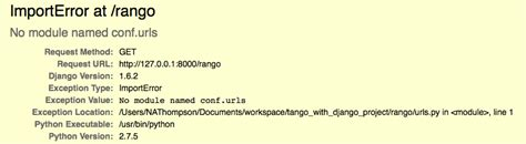 django tutorial unicode tango with django tutorial no module named conf u