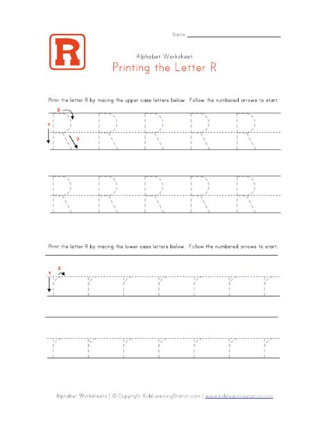 printable tracing letter r 6 best images of printable tracing worksheets letter r