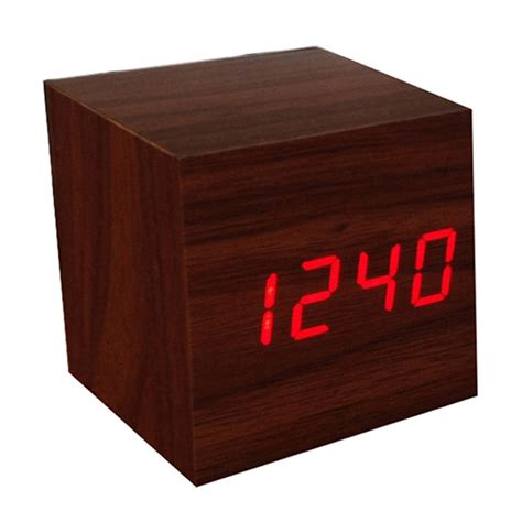 cool modern squared wooden digital desk alarm clock sound