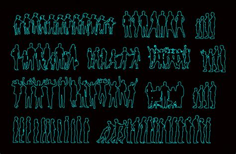 silhouettes  group people dwg block  autocad