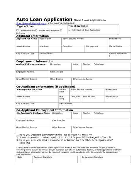 Auto Loan Application Form Sle And Template Vlashed Loan Shark Agreement Template
