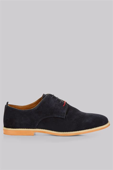 moss navy suede derby shoes