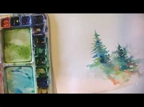 tutorial watercolor tattoo how to paint lively pine trees in watercolor youtube
