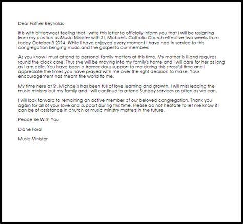 church resignation letter  letter samples templates