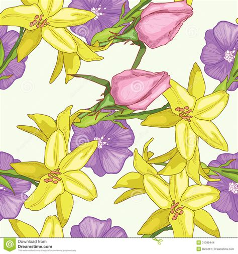 yellow lily pattern yellow lily stock images image 31389444