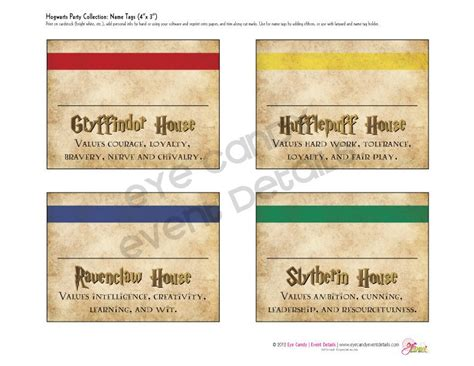 Sorting Hat Place Cards Template by Harry Potter Inspired Hogwarts Printable Name Tags