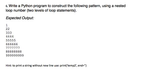 pattern questions in python solved 6 write a python program to construct the followi