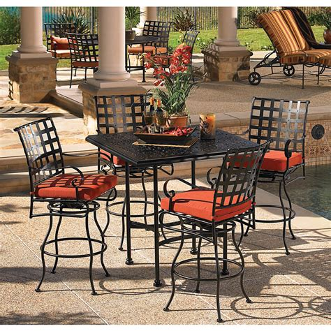 Patio Bar Table Set Ow Classico Wrought Iron Hi Top Set Furniture For Patio